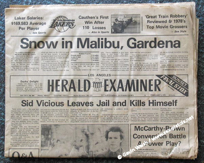 Los Angeles Herald Examiner Newspaper Made The Cover Upon His Death of The Los Angeles Herald Examiner