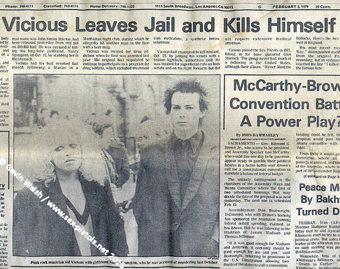 Los Angeles Herald Examiner Newspaper Sid Vicious Los Angeles Herald